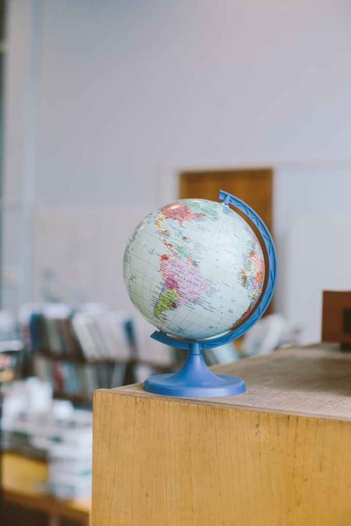 Decorative photo of globe in library